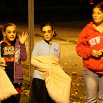 From Left: Acelyn Thompson as dead cheerleader; Adrianna Thompson and Amy Piwinski at the corner of Prospect and Cambridge in Elyria. Photo by Tom Mahl