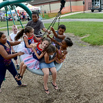 J.J. Costell, 9, of Elyria, and Arionna Carter, 10, of Elyria push their friends and siblings Hailey Lopez, 7, Isabella Alvarez, 4, Ella Warner, 8, of Freemont, Hollis Wilkerson, 6, Elijah C …