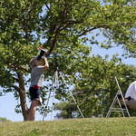 The society set up an array of telescopes and binoculars for people to observe the sun. ANNA NORRIS/CHRONICLE