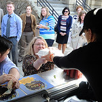 The KRAV Food Truck was a popular lunch spot for workers in downtown Elyria on Thursday. STEVE MANHEIM/CHRONICLE