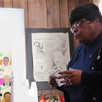 Ruth B. Evans, director of Kanisa House, provides a lesson in African American History during the African American History Festival at Kanisa House in Elyria. photo by Ray Riedel