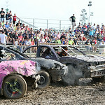 Kid derby drivers get tied up while competing in the junior class during the 69th annual Lorain County Fair demolition derby Sunday night. ANNA NORRIS/CHRONICLE