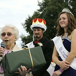 Hazel Pitts thanks the crowd after she was named the Claire Hill Memorial winner. Behind her is the newly crowned Junior Fair King and Queen Ben Klier and Michaela Price. BRUCE BISHOP/CHRONI …