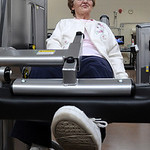 Dottie Campbell, of Vermilion, works out on leg extension at the Wellness and Fitness Center Open House at Mercy Regional Medical Center in Lorain on Apr. 7.  The open house showcased the ne …