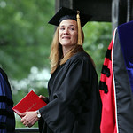 Novelist Tracy Chevalier, Oberlin College 1984 graduate, receives an Honorary Doctorate of Fine Arts during Oberlin College's commencement exercises on Tappan Square yesterday. Chevalier als …