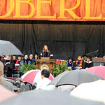 A sea of umbrellas cover graduates, family and faculty from the rain as Oberlin College 1984 graduate and novelist Tracy Chevalier delivers the commencement speech yesterday morning during t …