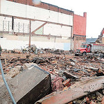 Now: Demolition cleanup at 328 Broad St. — the old Elyria City Hall — on Wednesday. (CT photo by Steve Manheim.)