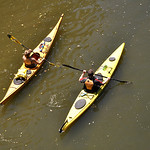 A pair of kayakers paddle on the French Creek Saturday afternoon as part of the Black River Kayak-a-thon. While other participants opted to enter the kayak and canoe races, this pair was par …