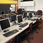In the computer room at St. Anthony's School, the computers and smartboard were saved from the damage from the storm, but the floor, carpeting and ceiling had to be replaced. photo by Ray Ri …