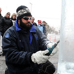 Jeff Meyers, of Elegant Ice Creations in Broadview Hts, works on an ice sculpture at the Ice-A -Fair in Vermilion Feb. 5.  Steve Manheim
