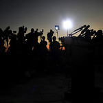 The sun sets as the media wait for a briefing on the shooting at Fort Hood, Texas, Thursday, Nov. 5, 2009.  (AP Photo/Michael Thomas)