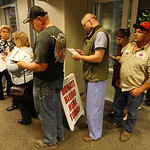Jeremy Moore of Eddy, Texas, wearing black cap, Brent Liles of Temple, and Tommy Diaz, wearing red cap, are among the hundreds of people who volunteered to give blood at Scott & White Memori …