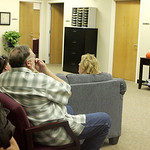 Gold Star family members, who are family members who have lost a solider in action, Survivor Outreach Services staff members, and soldiers watch the news on TV Thursday Nov. 5, 2009 as they  …
