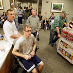 Supplies are wheeled in to the blood donation area at Scott and White Hospital to be given to the hundreds of volunteers that wait their turn to donate blood in Temple, Texas, Thursday Nov.  …