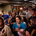 People from the local community line the Scott and White Memorial Hospital hallways in Temple Texas to donate blood shortly after an emergency blood drive was put into action, supporting sol …