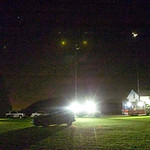 The rural home of Lisa Pfund, mother of Amber Bahr, a Random Lake, Wis. woman hurt in the Fort Hood attack, is blindingly lit by various satellite trucks from area media outlets on Thursday, …