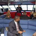 Patrick Petrigan, front of boat, talks to guests on the Jet Express about the West Shore Corridor project Sep. 30 .   Steve Manheim