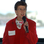 County Commissioner Betty Blair talks about the West Shore Corridor Project on the Jet Express at Black River Landing Sep. 30.  Steve Manheim/CT