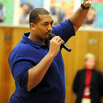 John St. Clair of the Cleveland Browns spoke about the importance of education to Franklin Elementary students, grades 3 to 5, on May 13.   Steve Manheim