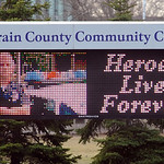 The sign in front of Lorain County Community College pays tribute to Officer Jim Kerstetter.