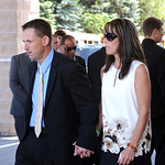 Sherri and Jim Fox, Kevin's parents, leave the funeral service at Cornerstone Chapel in Medina on June 9.  Steve Manheim