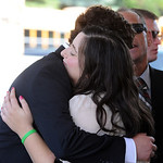 Colleen Fox, Kevin's sister, gets a hug after from a wellwisher the Kevin Fox' funeral at Cornerstone Chapel in Medina on June 9.  Steve Manheim