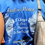 A t-shirt with the crash victims names at the Kevin Fox funeral on June 9.  Steve Manehim