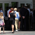 Mourners arrive for the Kevin Fox funeral at Cornerstone Chapel in Medina on June9.  Steve Manheim