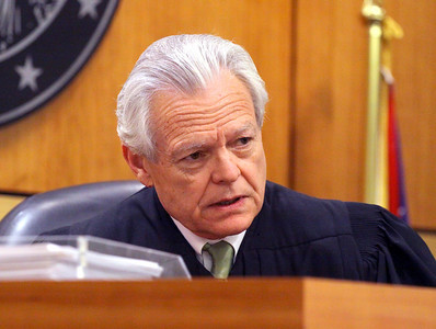 Judge James Burge questions the prosecution during the examination of Daniel Kovarbasich