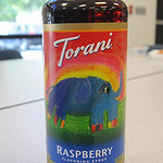 Emilia Sansotta designed the label on this bottle of Torani Raspberry syrup.  Steve Manheim
