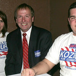 Mary Koziura, dad Joe Koziura and Cory Shawver, Pres. of the Lorain County Young Democrats. photo by Chuck Humel