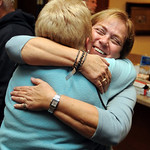 Gayle Manning hugs Judy Norris, a friend from Arizona, at an election party held at Waterford Party Center in Sheffield Nov. 2.  Steve Manheim