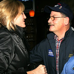 Betty Sutton visits Diso's Bistro in Lorain and hugs acquaintance and Vietnam Vet Joe Horvath.    photo by Chuck Humel
