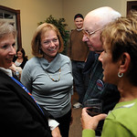 Gayle Manning, second from left, talks with Roseanne Johnson, left, Bob Wilson and Karen Carney at an election party held at the Waterford Party Center in Sheffield Nov. 2.   Steve Manheim