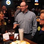 Keystone superintendent Jay Arbaugh talks with Kim Joergensen, left, and Gloria Janosko, both of the Keystone Levy committee, at a levy party held at Scoreboard's in Lagrange Nov. 2.   Steve …