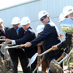 Ground is broken for the building of the new Lorain High School at a groundbreaking ceremony on Oct. 24.  From left, Treasurer Dale Weber, David Arredondo, Board President Tim Williams, Lora …