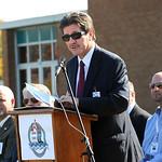 Lorain Schools supt. Tom Tucker speaks at the new Lorain High groundbreaking ceremony on Oct. 24.  Steve Manheim