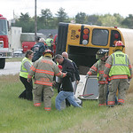 4OCT10 First Student bus contracted out to Murray Ridge School carrying adult passengers collided with a Pickup truck at Oberlin-Elyria Road and Butternut Ridge Rd.   photo by Chuck Humel