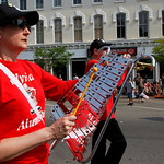 Debbie Warden plays and marches in the Elyria Pioneer Alumni Marching band.   Photo by Tom Mahl