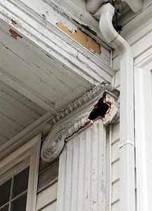 Pilasters on Monteith Hall in need of repairs on Feb. 24.  Steve Manheim