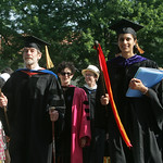 The head of the procession at Tappan Square, Oberlin, at Oberlin College Commencement Exercises.  photo  by Chuck Humel
