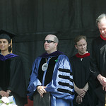 Oberlin College President Marvin Krislov, center, in blue. photo  by Chuck Humel