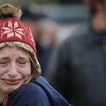Amber Downard, of Lakewood, cries at a memorial site outside the Lakewood Police Department, Monday, Nov. 30, 2009, in Lakewood, Wash. The memorial honors four slain Lakewood Police officers …