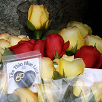 "Roses and a keepsake that reads ""The Thin Blue Line,"" are shown Monday, Nov. 30, 2009, at a memorial at the Lakewood Police headquarters in Lakewood, Wash. Four Lakewood Police officers were …"