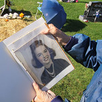 22oct10 bishop— William Petroff, 91, holds a picture of his wife Jeanne in Fields Cemetery in North Ridgeville