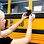 Test out the School Bus at the Ranger Palooza. Taking the picture is Jamie Smith. In the bus is her 2.5 year old Jada Smith.  Photo by Tom Mahl