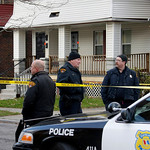 Cleveland police stand watch outside the home of Anthony Sowell on the city's east side Thursday, Nov. 5, 2009. Police are planning on a further search of the house where the remains of 11 p …