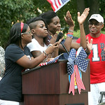Tianna's sister Adrianne Porter, sister Christina Madison, mom Jo Ann and dad Bob. Elyria fans and family of Tianna Madison turn out at Ely Square to cheer on hometown track and field star w …