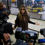Rachel Uchitel arrives from New York at the Los Angeles International Airport in Los Angeles on Sunday, Nov. 29, 2009.  The National Enquirer published a story alleging that golfer Tiger Woo …