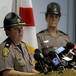 Maj. Cindy Williams, left, with the Florida Highway Patrol speaks during a news conference concerning Tiger Woods' accident as Sgt. Kim Montes looks on in Orlando, Fla., Tuesday, Dec. 1, 200 …